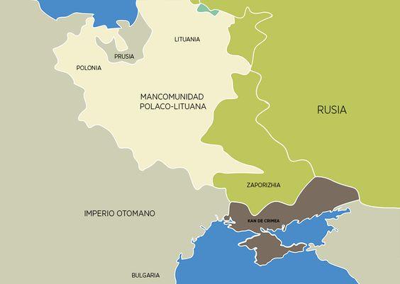 Durante la segunda mitad del siglo XVIII, la República de las Dos Naciones ya no era independiente. Sus reyes se escogían bajo la influencia del Imperio ruso y Prusia tenía aspiraciones de invadir sus territorios occidentales. En 1772, 1793 y 1795 tuvieron lugar varias particiones del territorio de Polonia, tras los cuales dejó de existir. Como resultado, los territorios de Lituania, Bielorrusia y Ucrania pasaron a formar parte de Rusia. En 1791, el Imperio otomano entregó Crimea a Rusia.