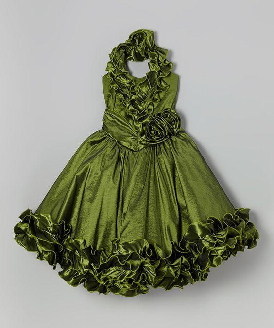 Love this Olive Rosette Ruffle Halter Dress - Toddler & Girls by Bijan Kids on #zulily! #zulilyfinds