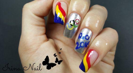 💅 Olympic Nail art tutoial | Rio 2016 | România | Irina Nail: