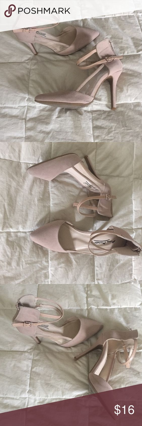 Nude ankle strap pumps, heels size 36, or size 6 Nude pumps, heels, zip up detail to get in shoes, size 36 or 6, ankle strap is adjustable, 4 inch heel Anne Michelle Shoes Heels