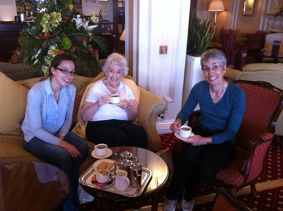 3 Generations having a Hot Chocolate in the Lounge