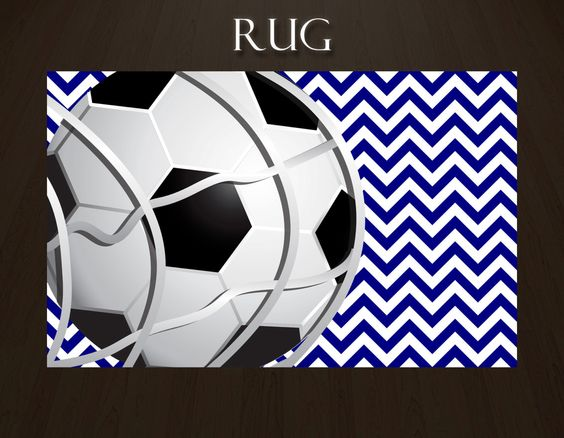 Blue Chevron Soccer Rugs, Soccer Ball Rug, Sports Theme Rugs, Sports Area  Rugs