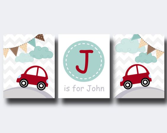 Baby Boy Car Nursery Wall Art Print Baby Boy Car by HopAndPop