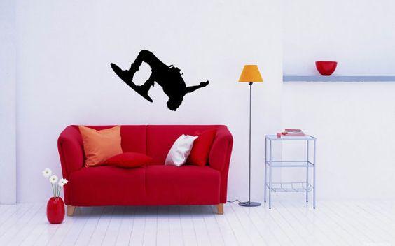 Snowboard Snow Sport Snowboarder Wall Vinyl Decal Sticker Housewares Art Design Murals Interior Decor Home Bedroom SV4978