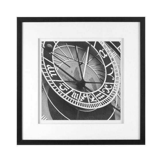 Framed Time Wall Art, Art Paper & Polyresin, Black / White