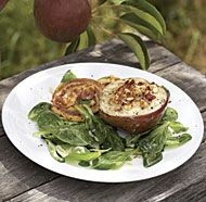Gorgonzola and Hazelnut Stuffed Pears with Pancetta Crisps and Mâche ...