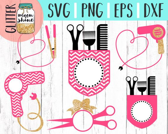 Instant Download Hair Stylist Monogram Frame Bundle Svg