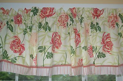 """VIP Cranston Floral Pink Green Red Toile Valance 17"""" x 81""""  Dra Wt Alter Curtain #Cranston #Cream #Floral"""