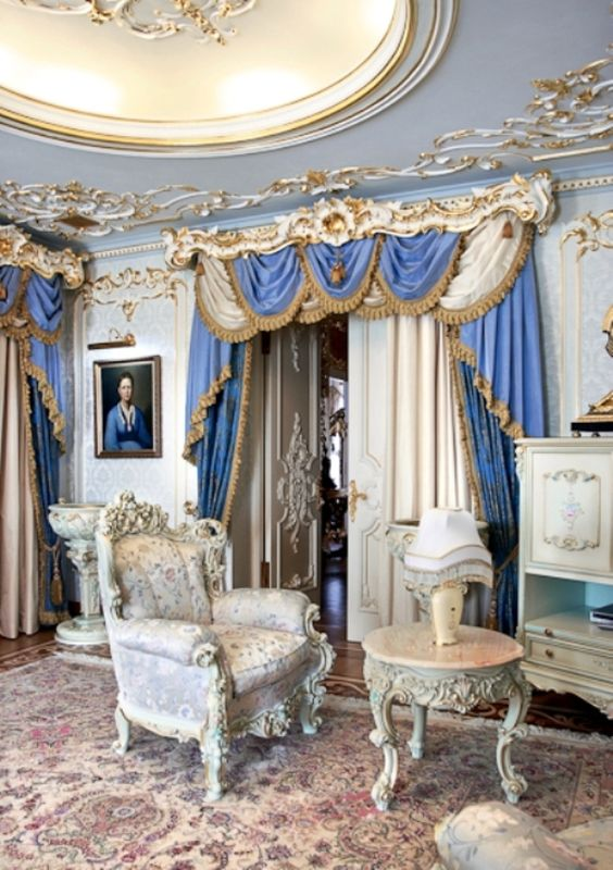 this room shows the Rococo period, also called late Baroque. rather than abide by the strict, drama of the Baroque, rococo tends to be more light, and whimsical.: