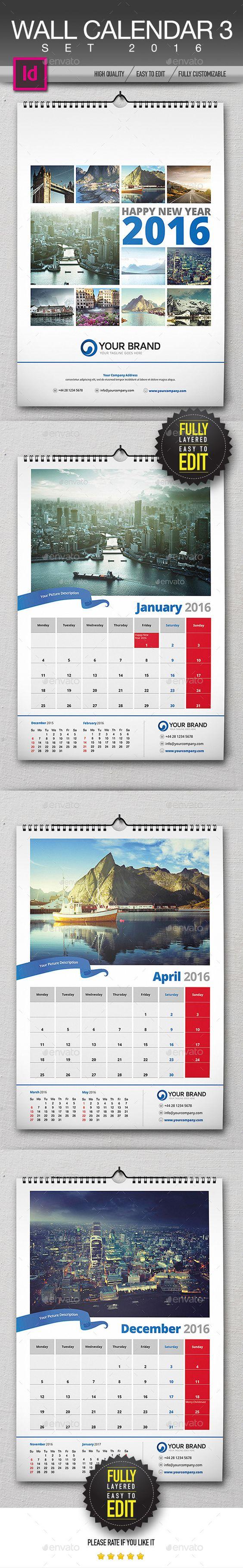Wall Calendar 2016 Template InDesign INDD #design Download: http ...