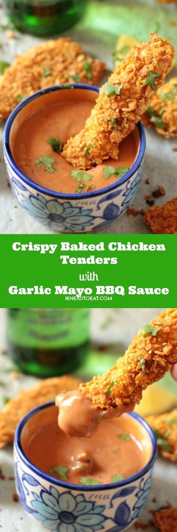 Crispy Baked Chicken Tenders with Garlic Mayo BBQ Sauce : ikneadtoeat                                                                                                                                                      More