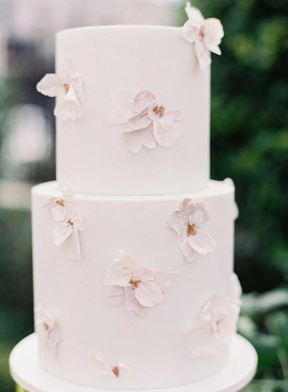 mini wedding cake with sugar flowers #weddingcakes #heartcake