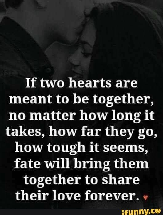 If Two Hearts Are Meant To Be Together No Matter How Long It Takes How Far They Go How Tough It Seems Fate Will Bring Them Together To Share Their Love Fore