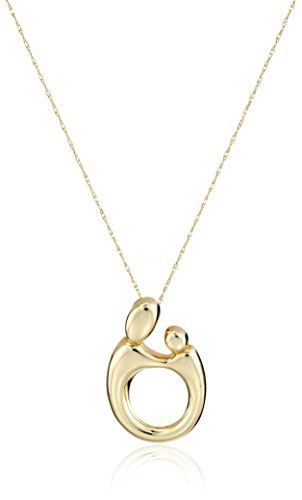 """cool 10k Yellow Gold Polished Mother and Child Pendant Necklace, 18""""."""