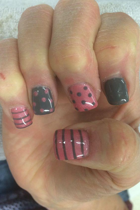 Grey & Pink poka-dots and stripes.
