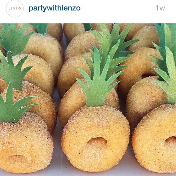 Pineapple shower or party food ideas | pineapple donut dessert inspiration for party menu