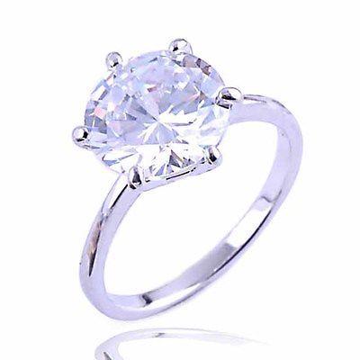9K White Gold Filled CZ Wedding Engagement Ring- $3.79- Ebay
