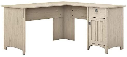 Amazon Com Bush Furniture Salinas L Shaped Desk With Storage In Antique White Kitchen Dining In 2020 Desk Storage Bush Furniture L Shaped Desk