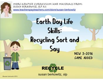 Teach students how to recycle properly by using the easy-to-assemble boxes to sort paper, plastic, metal, glass, and foodstuffs picture cards.  Also contains sorting activities, cut and paste activity pages.NEW 3-2016 Recycle or Not? Game with game board, cards, spinner, and game pieces.$3.00