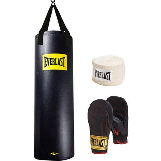Gloves Everlast Heavy Bag Kit 70 lb Speed Bag Hand Wraps MMA Training Boxing