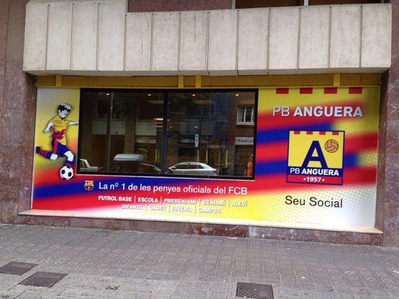 PB ANGUERA. Nueva rotulación para la Peña Blaugrana de Barcelona