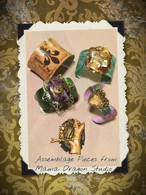 Here are some assemblage bracelets and pendant I made this week. The one in the left top was made with decoupage.  Melida