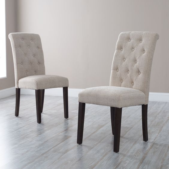 Have to have it. Morgana Beige Tufted Parsons Dining Chair - Set of 2 - $139.98 @hayneedle