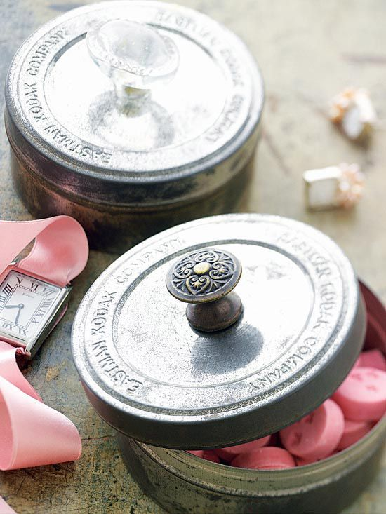 superglue old drawer pulls onto the tops of canisters/mason jar lids for a super cute way to store things/give gifts