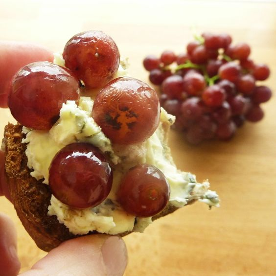 Sautéed Grapes & St. Agur on Nubbly Toast.