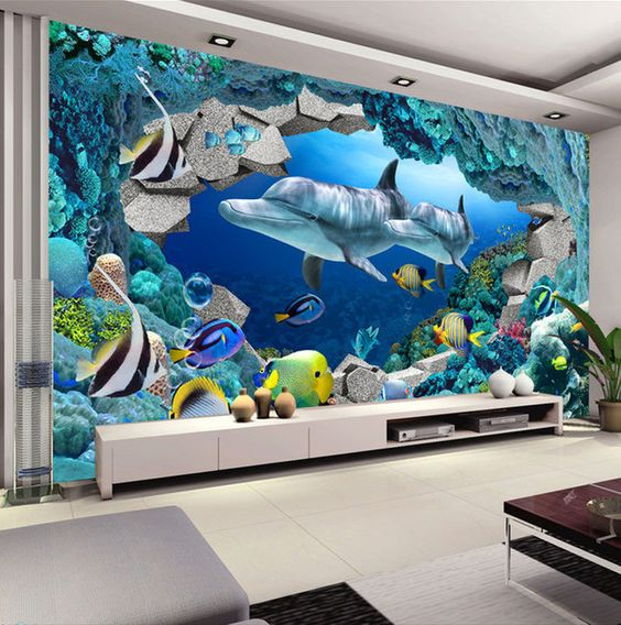 3D Wall Mural Underwater World Photo Wallpaper Interior Art Decoration  Dolphin Wallpaper Kids Bedroom TV background. 3D Wall Mural Underwater World Photo Wallpaper Interior Art