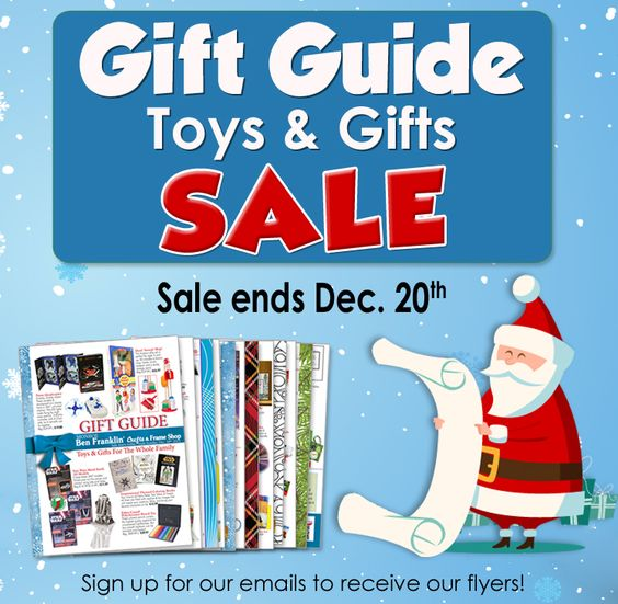 Our TOY & GIFT GUIDE is the perfect place to start your Christmas shopping! You'll find unique gifts for the entire family! Sale ends Dec. 20, 2015. http://www.bfranklincrafts.com/Gift-Guide-15-M.pdf