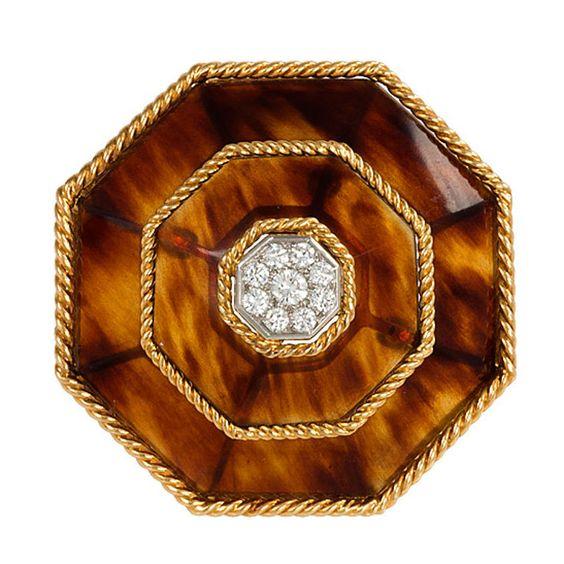 BOUCHERON Tortoise Shell, Diamond and Gold Brooch