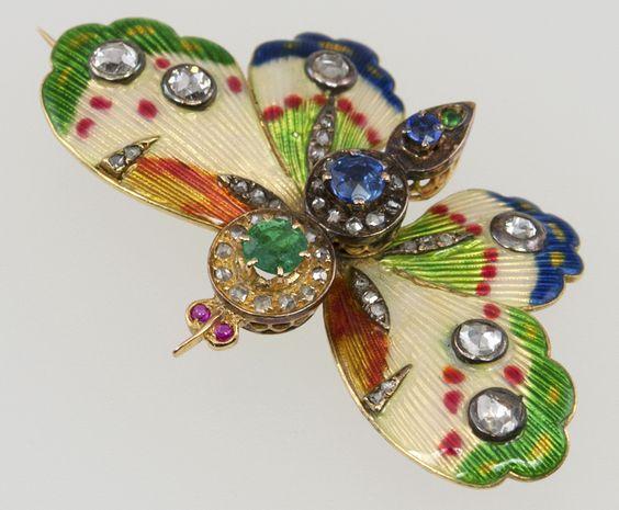 Enamel Gemstone Diamond Butterfly:
