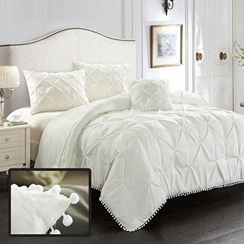 Evolive 4pc Set Pinch Pleat Kiss Pleat Pintuck Down Alte Https Www Amazon Com Dp B075cvtcfn Ref Bed Comforter Sets Comforter Sets White Comforter Bedroom