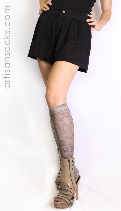 Taupe Tribal Art Knee High Stockings by Celeste Stein from Artisan Socks www.artisansocks.com
