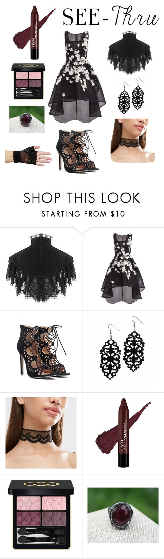 """see thru"" by jokerkat on Polyvore featuring Jovani, Gucci, clear and Seethru"