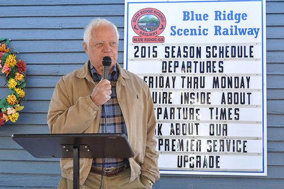 Blue Ridge Scenic Railway owner Wilds Pierce announced Friday, Nov. 13, the railway's sale to SteelRiver Transportation Holdings, LLC. The announcement came on the deck of the historic railroad depot in downtown Blue Ridge which now serves as the railway's headquarters.