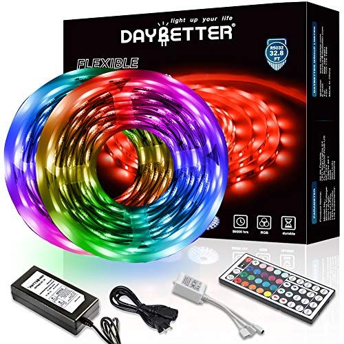 Daybetter Led Strip Lights 32 8ft 10m With 44 Keys Ir Remote And 12v Power Supply Flexible Co In 2020 Led Strip Lighting Flexible Led Strip Lights Strip Lighting
