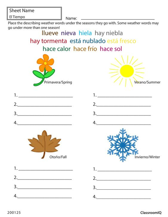 weather and seasons in spanish spanishworksheets classroomiq newteachers spanish worksheets. Black Bedroom Furniture Sets. Home Design Ideas