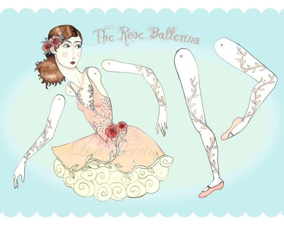 dancing girl - printables- puppet - paper doll- paper toy - artcraft - articulated -  ballerinna - ballet