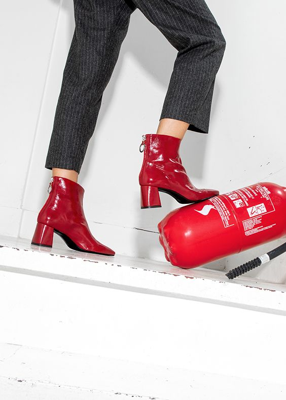 Made By Sarenza : Bottines Busy Girl en vinyle rouge