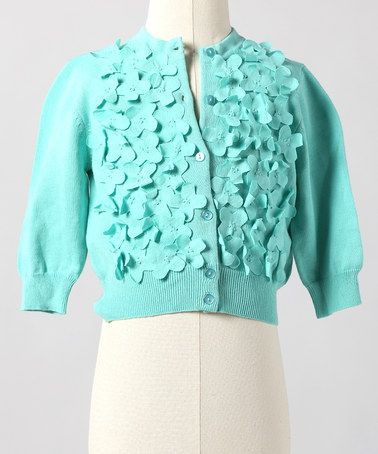 Take a look at this Pool Blue Frosted Flowers Cardigan - Toddler & Girls by Down East Basics Girls on #zulily today!