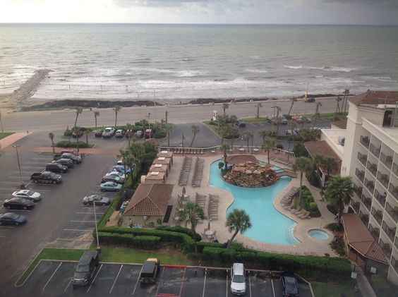 The view from our hotel room at Galveston, TX and the Gulf of Mexico beyond. Sept. 2014.