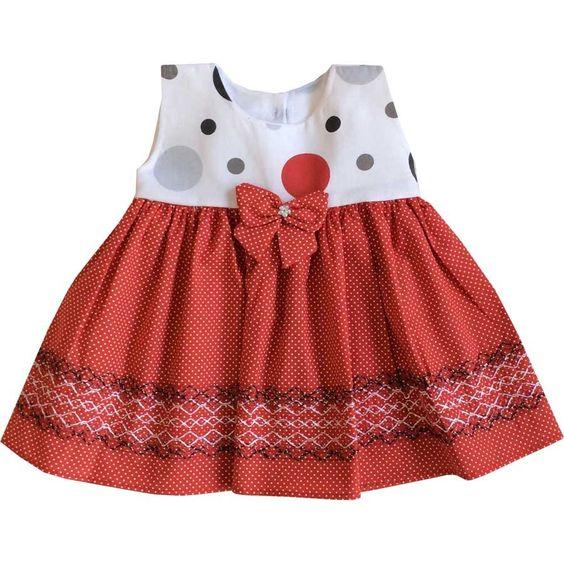 Vestido vermelho para bebe com detalhe rosa | CegonhaFeliz.com
