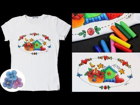 ▶ HTM Pintura en Tela con Ceras para Lavadora *Crayon Fabric Painting* Giz Cera Pintura Facil - YouTube