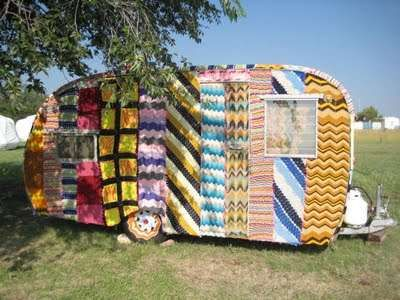 So cool! Magda Sayeg yarn-bombed camper.