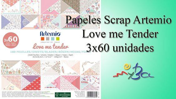 Bloc 180 papeles scrapbooking Love me Tender Artemio