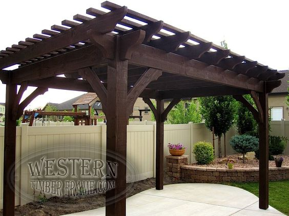 Free standing pergola with Rich Cordoba stain and Roosevelt profile.
