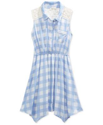 Monteau Girls' Blue Check-Print Shirt Dress  | macys.com