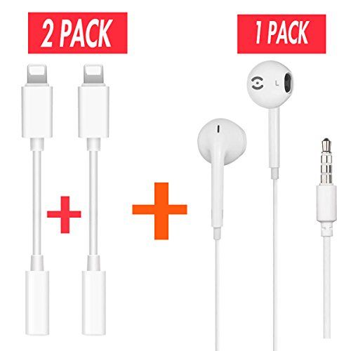 2 Pack Iphone 7 7 Plus Headphone Jack Adapter Plus Earbuds For Iphone Lightning Connecter To 3 5mm Audio Jack Earphone Extend Earphone Earbuds Apple Headphone